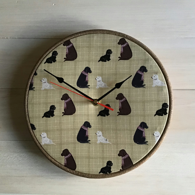 Dogs Natural Check Background Cotton Print Fabric Covered Wall Clock 25cms 10in