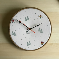 Sophie Allport Skiing Snowboarder Fir Tree Skier Fabric Covered 25cm 10ins Clock