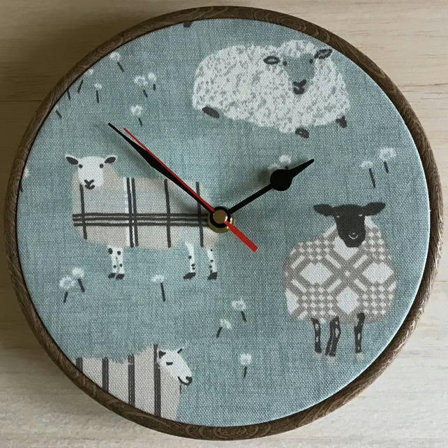 Sheep Ewes on Duck Egg Blue Cotton Linen Fabric Covered Clock 20cm 8in