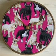 French Bullgdogs Frenchies Cotton Print Fabric Covered Wall Clock 20 cms 8 ins