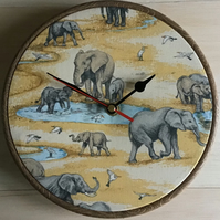 Elephant Fabric Covered Wall Clock 20cm 8 inches
