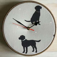 Black Labrador Print Cotton Linen Fabric Covered Clock 20cm 8ins Wooden Back