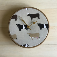 Sophie Allport Belted Galloway Cows Fabric Covered Farm Wall Clock 20cm 8in