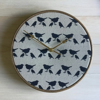 Handmade Shabby Chic Birds Cotton Linen Fabric Covered Wall Clock 25cms 10in