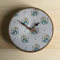 Beatrix Potter Peter Rabbit Peters Hug Print Fabric Wall Clock 20cm 8 inches