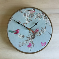 Handmade Dunelm Beautiful Birds Cotton Fabric Covered Wall Clock 25cms 10in