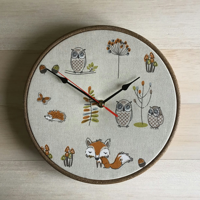 Dunelm Fryetts Fox Owl Woodland Fabric Covered Wall Clock  25 cms 10 in