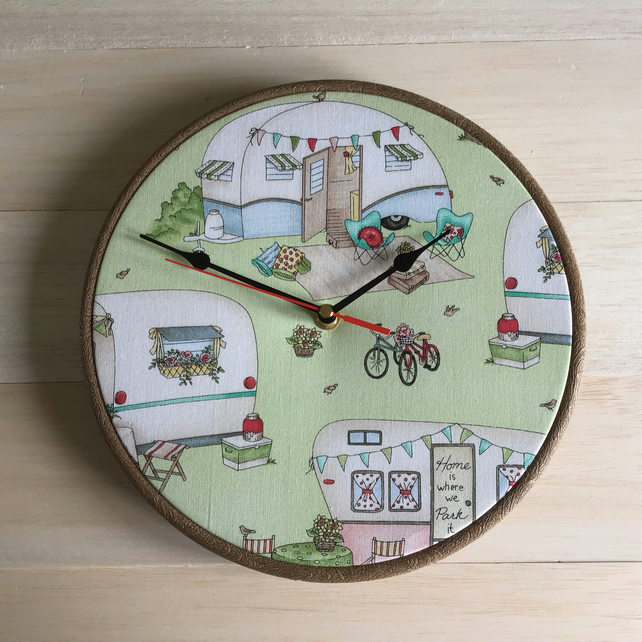 Caravan Camping Bicycles Holiday Fabric Covered Wall Clock 25cm 10ins