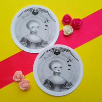 Marie Antoinette Heartstring - Vintage Illustration 5cm Round Circle Gift Tags