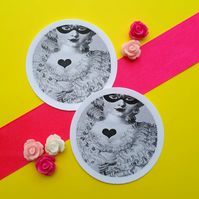 Marie Antoinette Love Heart - Vintage Illustration 5cm Round Circle Gift Tags