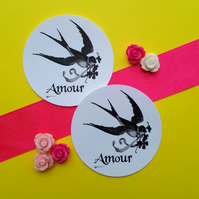 Amour Swallow Bird - Vintage Illustration 5cm Round Circle Gift Tags