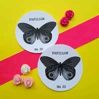 Butterfly Papillon No 20 - Vintage Illustration 5cm Round Circle Gift Tags