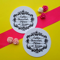 Cafes Chocolat Pates et Sirops - Vintage Word Typeface Round Circle Gift Tags