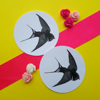 Swallow Bird Tattoo - Vintage Illustration 5cm Round Circle Gift Tags