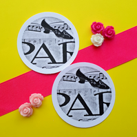 Paris French Shoe - Vintage Illustration Word Round Circle Gift Tags