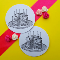 Birthday Cake - Vintage Illustration Word Round Circle Gift Tags