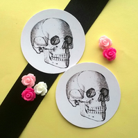 Skeleton Skull - Set of Five Vintage Illustration 5cm Round Circle Gift Tags