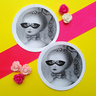 Marie Antoinette Masquerade Ball - Vintage Illustration Round Circle Gift Tags