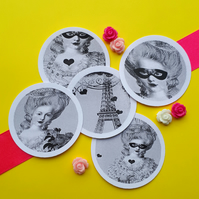 Marie Antoinette Paris Mix - Vintage Illustration 5cm Round Circle Gift Tags