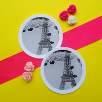 Eiffel Tower - Set of Five Vintage Illustration 5cm Round Circle Gift Tags