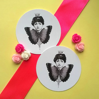 Madame Butterfly - Vintage Illustrated 5cm Round Card Circle Gift Tags