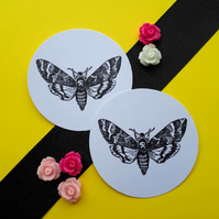 Death Hawk Moth - Vintage Illustrated 5cm Round Card Circle Gift Tags