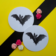 Flying Long Eared Bat - Vintage Illustrated 5cm Round Card Circle Gift Tags