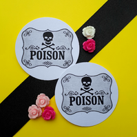 Poison Apothecary Skull Label - Vintage Illustrated Round Card Circle Gift Tags