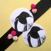 Magpie Bird - Vintage Illustrated Round Card Circle Gift Tags