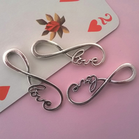 1 Silver Tone Eternal Love Word Connector Charm