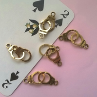 3 Antique Gold Tone Hand Cuff Charms