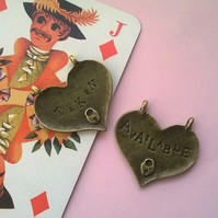 1 Antique Bronze Available Taken Love Heart Charms