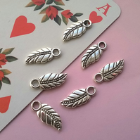 8 Silver Tone Engraved Feather Charms