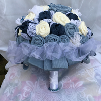 Handmade Unique Blue Denim and Lace Keepsake Fabric Bouquet