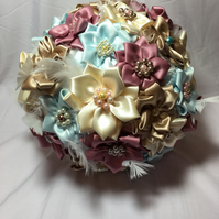 Handmade Luxury Satin Ribbon and white feather Keepsake Fabric Bouquet