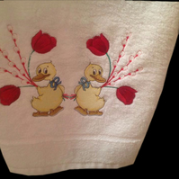 White embroidered hand towel
