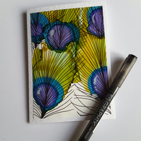 Blank greetings card - Peacock Feathers - one of a kind