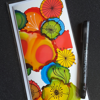 Alcohol ink blank greetings card - one of a kind
