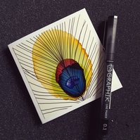 Blank greetings card - Peacock Feather - one of a kind