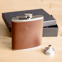 Hand made Leather Hip Flasks - Personalised - Dark Tan