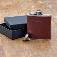 Hand made Leather Hip Flasks - Personalised - Chestnut Brown