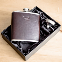 Hand made Leather Hip Flasks - Personalised - Dark Brown