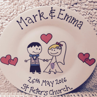 Personalised wedding plate, Personalised wedding anniversary plate