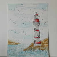 Original watercolour painting. Lighthouse