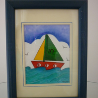 Wood Framed Boat Picture