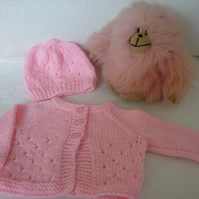 Pink Cardigan and Hat, size from Birth