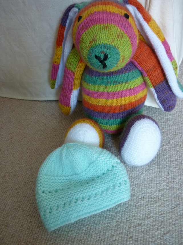Mint Green Hand knitted Baby Hat