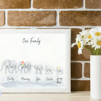 Personalised Elephant Family A4 print
