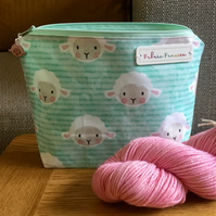 Sheep knitting crochet bag, zipper pouch, WIP bag