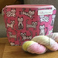 Cat project bag, zipper pouch, knitting, crochet, WIP bag